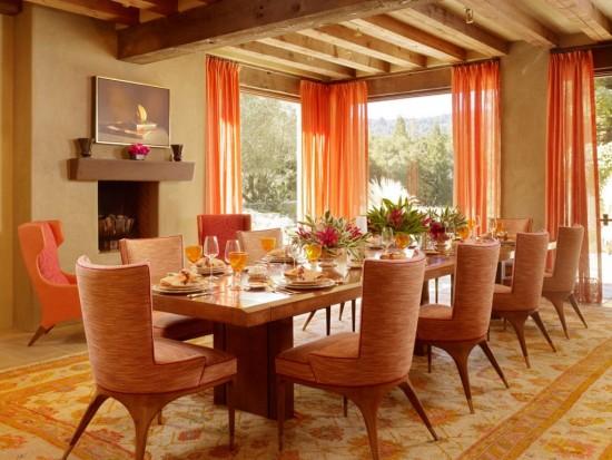 thiết kế phòng ăn màu cam, thiết kế nội thất đẹp phòng ăn